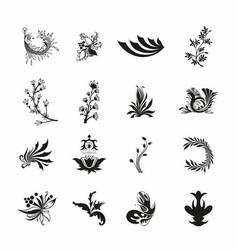 Black floral set vector