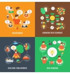 Ideas icons flat vector