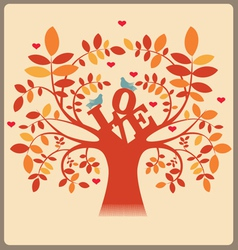 Tree with love message and doves vector