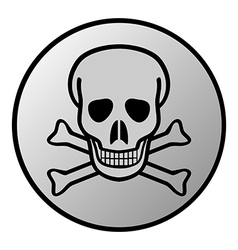 Skull and bones danger sign button vector