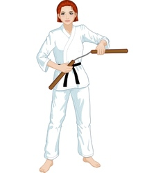 Caucasian nunchuck girl in karategi vector