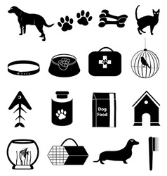 Pet dogs icons set vector