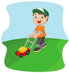 Young man cutting grass with a push lawn mower vector