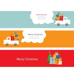 Set of christmas cards with santa with presents vector