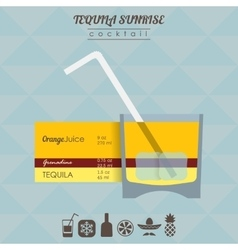 Tequila sunrise cocktail flat style isometric vector