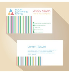 Color funky lines white simple business card vector
