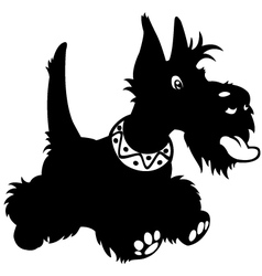 Cartoon scottish terrier black white vector