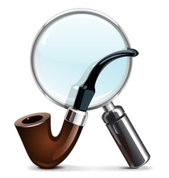 Tobacco pipe and loupe vector