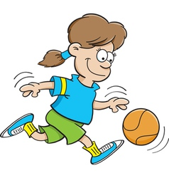 Cartoon basketball girl vector
