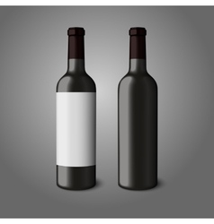 Two blank black realistic bottles for red wine vector