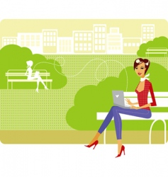 Woman in a park vector