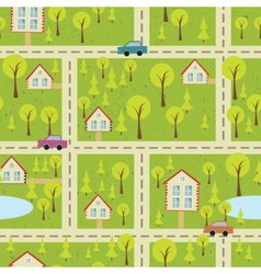 Seamless pattern with light asphalt and houses vector
