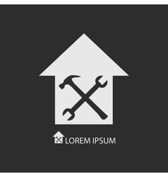 White house repair symbol on dark grey vector