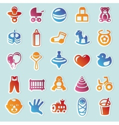 Set of stickers with kids and toys vector