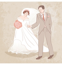 Bride and groom on grungy background vector