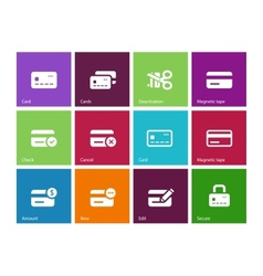 Credit card icons on color background vector