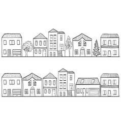 Houses and trees - background patt vector