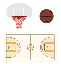 Basketball ball hoop and court vector