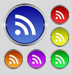 Rss feed icon sign round symbol on bright vector