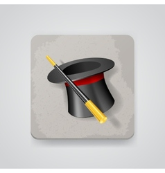 Magic hat and wand icon vector