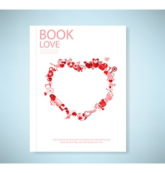 Report red icon heart valentines day card with sig vector