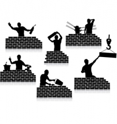 Workers silhouettes close-up vector