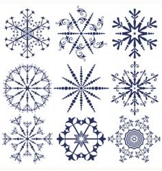 Set dark blue snowflakes vector