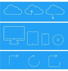 Modern flat technology icons set vector