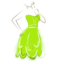 Sketch girl green dress vector