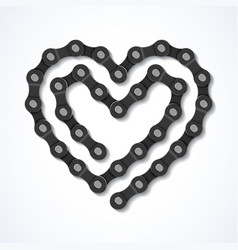 Bicycle chain heart vector