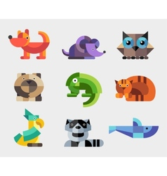 Set of flat design geometric animals icons vector