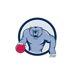 Grizzly bear angry dribbling basketball cartoon vector