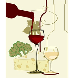 Red wine band glass of wine with cheese vector