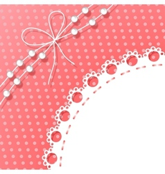 Frame with bow and beads on polka dots background vector