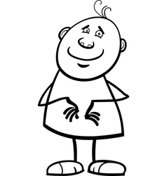 Funny happy man cartoon coloring page vector