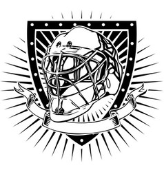 Ice hockey helmet shield vector