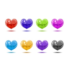 Colored glossy hearts vector