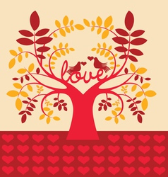 Autumn tree with love message vector