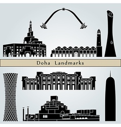 Doha landmarks and monuments vector