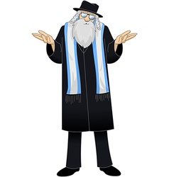 Rabbi with talit is unsure vector