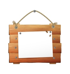 Wooden sign with rope vector