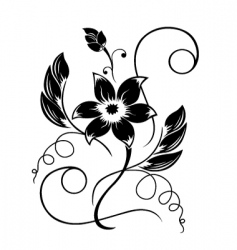 Flower black a white pattern vector