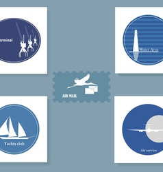 Set of various symbols on a blue background vector