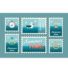 Summertime marine stamp set flat vector