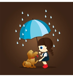 Little girl and cute puppy vector