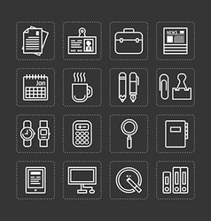 Flat icons set of business office tools outline vector