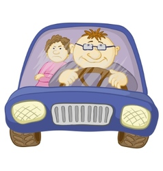 Car driver and passenger vector