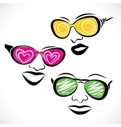 Abstract fashionable goggle wear girl stock vector