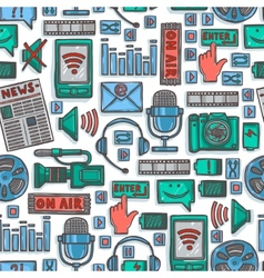 Media sketch icons seamless pattern vector