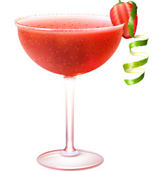 Strawberry daiquiri cocktail realistic vector